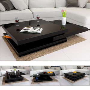 Casaria Couchtisch Wohnzimmertisch Hochglanz 360° drehbar Sofatisch Beistelltisch Couch , Farbe:schwarz