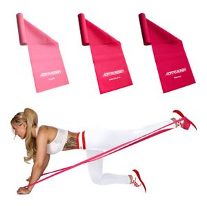 ActiveVikings Fitnessbänder Girls Set Set 3-Stärken 2m Länge Ideal für Muskelaufbau Physiotherapie Pilates Yoga Gymnastik und Crossfit   Fitnessband Gymnastikband Widerstandsbänder