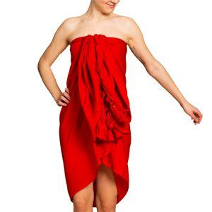 PANASIAM Sarong unicolor, Farbe/Design:Rot, Größe:190x116cm