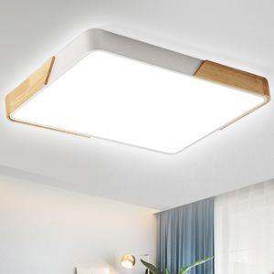 48W LED Deckenleuchte rechteckig Deckenlampe dimmbar mit Fernbedienung  für Wohnzimmer Schlafzimmer Küche Büro (Holz & Metall) [Energieklasse A++]