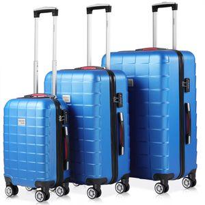 Monzana® Kofferset 3tlg Trolley Reisekoffer Hartschale M L XL Koffer Rollen Case, Farbe:3er Set blau