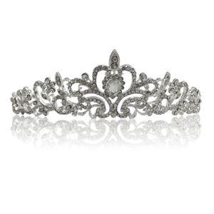 Silbernes Strass Diadem für Damen oder Mädchen für Hochzeit, Brautjungfern, Kommunion, Konfirmation Diadem 3 (Haarklammer benötigt)