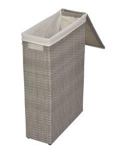 Raumspar -Wäschekorb aus Polyrattan in grau