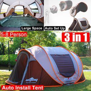 Wasserdicht 5-8 Personen Pop up Zelte Familienzelt Camping Zelt Doppelwandig Wurfzelt Shelter 5-8 Mann Zelt für Outdoor Sport Picknick Wandern Reisen Strand Braun