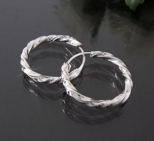 Ohrringe Silber 925 Creolen 20mm Niklarson gedreht 20320-20