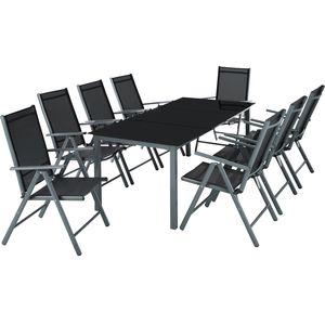 tectake Aluminium Sitzgruppe 8+1 - dunkelgrau