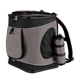 dibea Hunderucksack Hundetransporttasche Haustiertragetasche Farbe grau/schwarz