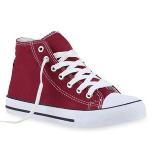 Mytrendshoe Damen Sneakers High Top Sportschuhe Stoffschuhe Schnürer 894600, Farbe: Dunkelrot, Größe: 38