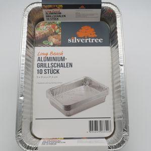 Silvertree Alu-Grillschalen Long Beach | Eckig | 10 Stück | 5 x 31,4 x 21,5 cm | Grillpfanne | Sauberes und raucharmes Grillen