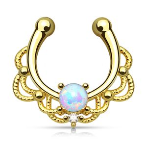 Nasenpiercing Nasenring Fake Piercing Septum Opal Septum Hanger gold-weiß
