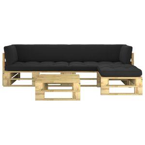 Neues Produkt 4-tlg. Paletten-Lounge-Set, Wetterfest, Sitzgruppe Gartengarnitur Palettenmöbel mit Kissen Grün Kiefer Imprägniert
