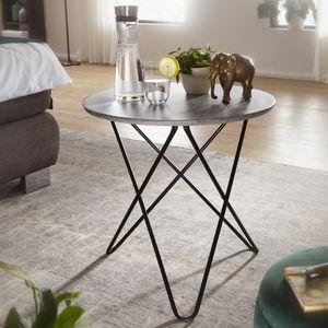 WOHNLING Design Beistelltisch in Beton Optik Grau Rund Ø 60 cm | Couchtisch Metallbeine Schwarz | Moderner Wohnzimmertisch