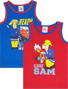 Feuerwehrmann Sam - Jungen Unterhemden (2er-Pack), Blau & Rot (122-128)