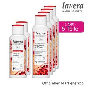 6tlg. lavera Farbglanz & Pflege Shampoo und Spülung Haarpflege Bio-Granatapfel