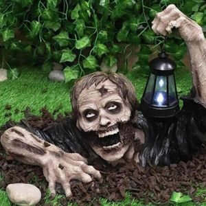 Halloween Dekoration mit Led Laterne, Harz Kunst Zombie Gartenfigur Terror Ornamente, Halloween dekorative Skulptur für Desktop, Rasen