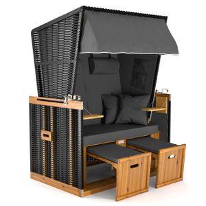 Sanzaro Strandkorb XL120 cm Deluxe Zweisitzer Holz und Poly-Rattan Sylt Ostsee Volllieger inkl. 4 x Kissen klappbare Rückenlehne 2 Personen Grau Uni