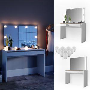 Vicco Schminktisch Emma Frisiertisch Frisierkommode Kommode Weiß Sonoma inklusive Spiegel und LED-Lichterkette