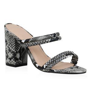 Mytrendshoe Damen Sandaletten Pantoletten Schlangenmuster Prints Sommer Schuhe 834701, Farbe: Schwarz Hellgrau Weiß Snake, Größe: 40