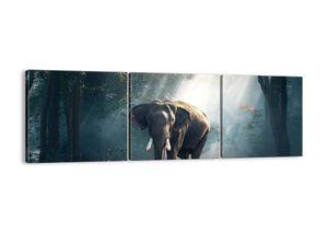 "Leinwandbild - 90x30 cm - ""Ein gemütlicher Spaziergang""- Wandbilder - Elefant Wald Dschungel - Arttor - CA90x30-3972"