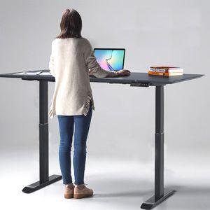 Wolketon Hoehenverstellbarer Schreibtisch Home Office Hubsaeulentisch elektrisch schwarz