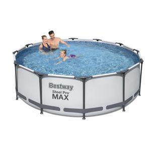 Bestway 56418 Steel Pro Max runder oberirdischer Pool 366x100cmGestalten: Round, Maße: 3 - 3,99 m, Höhe (cm): 100, Breite (cm): 366, Zusammensetzung: PVC, Länge (cm): 366, Filterpumpe: 58383