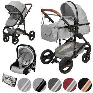ib style® 3 in 1  Sole Kombi - Kinderwagen  Buggy Sportwagen inkl. Regen- / Insektenschutz Babyschale HELLGRAU / SCHWARZ