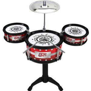 Kids Drum Set, Kindertrommel Percussion Schlagzeug Musik Früherziehung 3-6 Jahre (Farbe: Rot) Anfänger Drum Kit