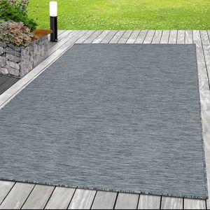 Outdoor-Teppich Flachgewebe Teppich Sisal Optik Indoor Küche Terrasse Anthrazit, Grösse:160x230 cm