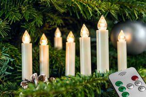 FHS 25755 Baumkerzen Christbaumkerzen Kerzen Weihnachtsbaum 10 Stück creme Timer Fernbedienung 9cm