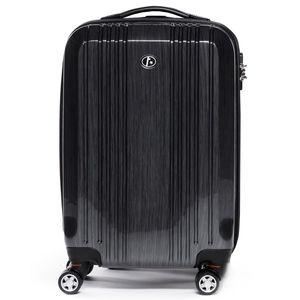 FERGÉ Handgepäck-Koffer CANNES ABS & PC graphite-metallic Reisekoffer Kabinen-Trolley 4 Rollen Handgepäck-Koffer Hartschale