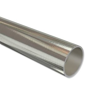 Interdeco Metallrohr 20 mm Ø, Rohr für Gardinenstangen, Edelstahl-Optik, 240 cm