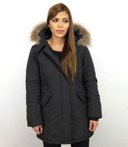 Jacken Mit Fellkragen - Winterjacken Da Lang - Großer Pelzkragen - Schwarz - XL