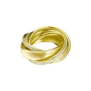 Joop! Damen 6er Ring Embrace Vergoldet Glas weiß, Gelbgold JPRG10631B180, Ringgröße:56 (17.8 mm Ø)