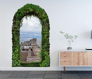 3D Wandtattoo Garten Tor Dschungel alt Pier Steg Holz Meer Retro Ozean Pflanzen Tür Gewölbe Wand Aufkleber Wandsticker 11FB414, Größe in cm:97cmx160cm