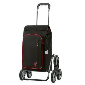 Andersen Einkaufstrolley Royal als Treppensteiger und 56 Liter Einkaufstasche Toto schwarz mit Kühlfach Einkaufswagen Stahlgestell klappbar