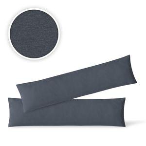 Jersey Kissenbezug Hülle 2 Sparpack Set mit Reißverschluss  hochwertige Qualität 40 x 145 cm anthrazit