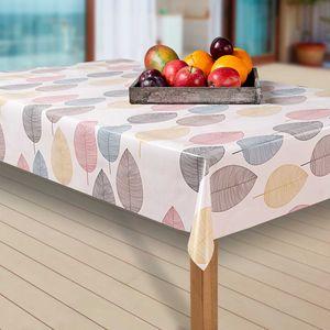 Wachstuch-Tischdecke Wachstischdecke Tischwäsche Abwaschbar Wachstuchdecke EZ, Muster:Blätter. bunt/weiß, Größe:80-80 cm