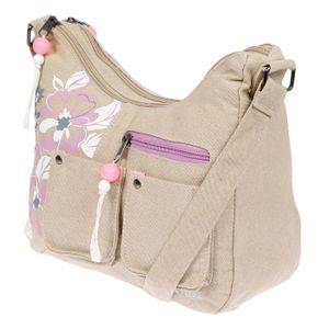 Damenhandtasche Schultertasche Tasche Umhängetasche Canvas Shopper Crossover Bag Beige