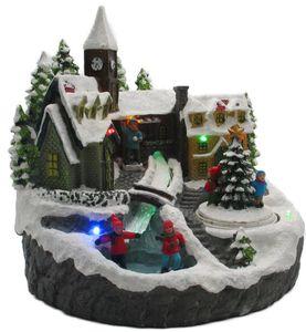 LED Winterdorf mit drehendem Element, Weihnachtsdeko mit bunter Beleuchtung, detailgetreu gefertigt, Bachlauf mit Farbwechsel, Dekofigur, Weihnachtsdeko (Tanne)