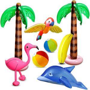 8 Stücke Aufblasbare Palmen Flamingo Spielzeug Aufblasbare Bananenstrandbälle Fliegen Papagei Delphin