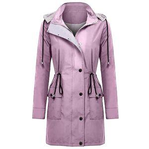Frauen Solid Rain Jacke Outdoor Plus Size Wasserdichte Kapuze Winddichter lockerer Mantel Größe:XXXXL,Farbe:Bunt