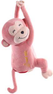 Taschentücherbox Kosmetiktücherbox Taschentuchspender, Affe Taschentücher Box, Niedlich Rücksitz Papierhalter Für Auto Küche Zuhause Büro Schreibtisch Tisch - Hängen Affe Puppe Taschentuchspender (Pink)