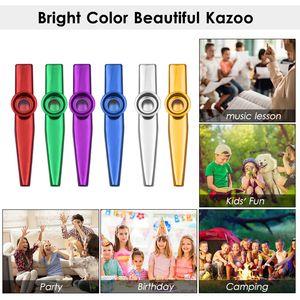 Muslady 6pcs Aluminiumlegierung Kazoo Musikinstrument fuer Kinder Erwachsene Anfaenger