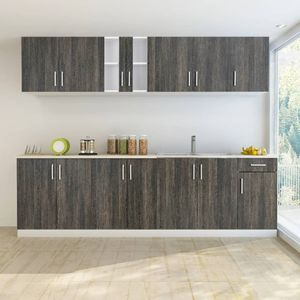 Küchenzeile Küche Küchenblock Einbauküche | mit Spülenunterschrank 8- tlg. Wenge-Look | 63915