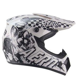 AERO Skeleton Crosshelm für Kinder weiß / schwarz Motocrosshelm Helm Kinderhelm : XS Größen: XS