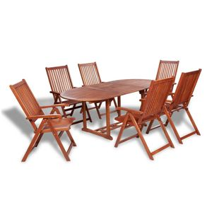 Huicheng 7-tlg. Garten Essgruppe Gartenmöbel-Sets mit Gartentisch (150-200)x100x74 cm und 6 Klappstühle 57x69x111 cm Massivholz Akazie, VD26701_DE
