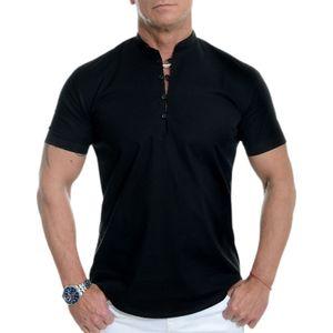 Herren Stehkragen Kurzarm Tops Casual T-Shirt Bluse Pullover Tunika Knöpfe,Farbe: Schwarz,Größe:4XL
