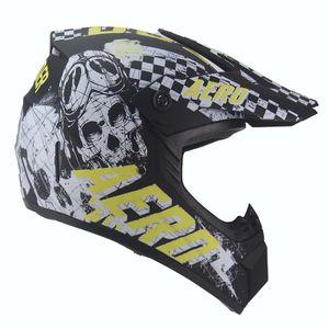 AERO Skeleton Crosshelm für Kinder schwarz matt / gelb Motocrosshelm Helm Kinderhelm : S Größen: S