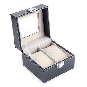 2 Steckplätze Uhrenbox Uhrengehäuse Organizer Lederschmuck Uhren-Aufbewahrungsbox