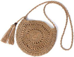 Vintage Strandtasche Stroh Rund Umhängetasche Strohtaschen Crossbody Tasche für Damen/Mädchen